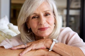 Close up portrait of relaxed older woman