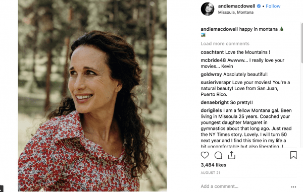 Andie MacDowell on Instagram