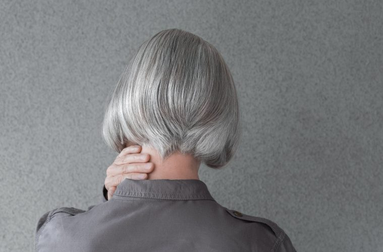 woman with silver gray hair